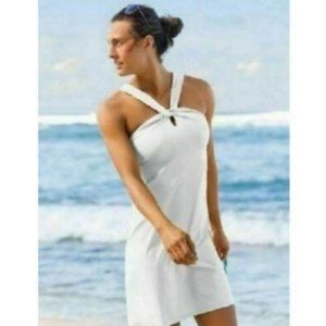 Athleta White Kiki Halter Swim Active Dress